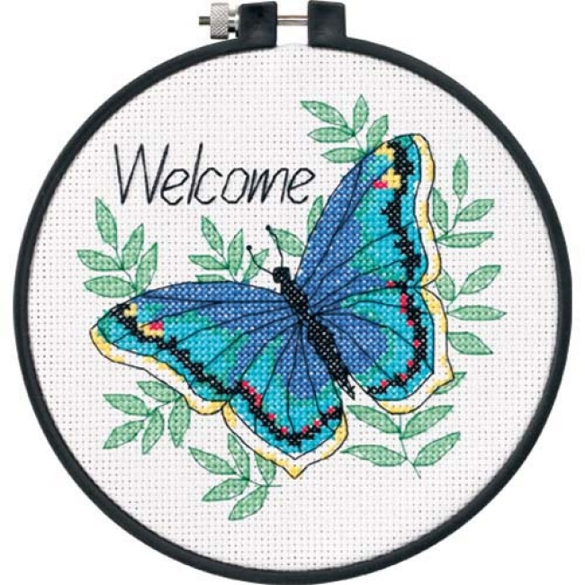 Welcome butterfly counted cross stitch kit for beginners