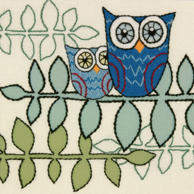 Owl crewel embroidery kit easy hand kits at