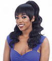Model Model Ponytail and Blunt Bang Loose Curl (Blunt Bang) Ponytail Synthetic