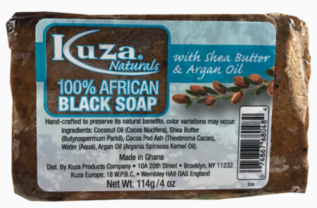 Kuza 100% African Black Soap with Shea Butter & Argan Oil 4 oz