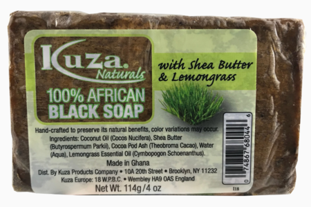 Kuza Naturals 100% African Black Soap With Shea Butter & Lemongrass 4oz