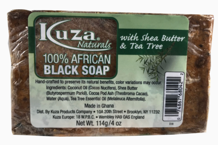 Kuza Naturals 100% African Black Soap with Shea Butter & Tea Tree 4oz