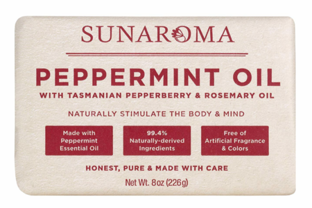 Sunaroma Peppermint and Rosemary Oil Soap 8 oz