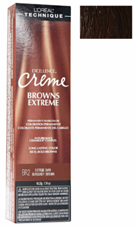 L'Oreal Excellence Creme Browns Extreme BR2 Extra Dark Burgundy Brown DISC