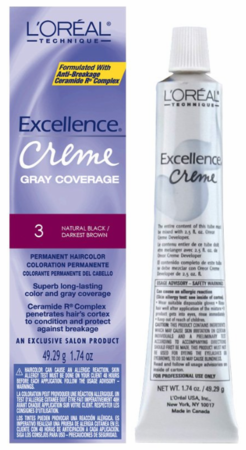 L'Oreal Excellence Creme Gray Coverage Permanent Hair Color 3 Natural Black