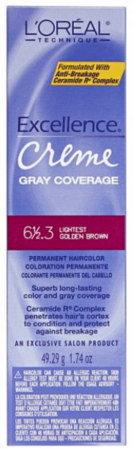 L'Oreal Excellence Creme Gray Coverage Permanent Hair Color 6 1/2.3 Light Golden Brown