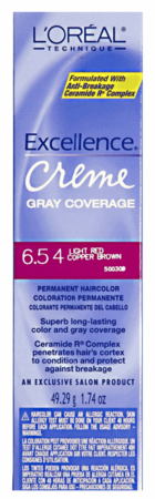 L'Oreal Excellence Creme Gray Coverage Permanent Hair Color 6.54 Light Red Copper Brown DISC