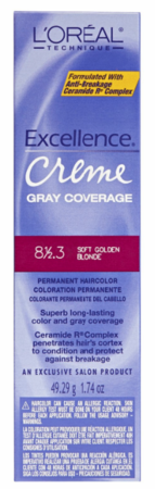 L'Oreal Excellence Creme Gray Coverage Permanent Hair Color 8 1/2.3 Soft Golden Blonde DISC