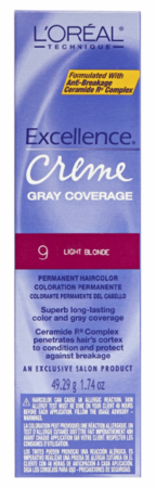 L'Oreal Excellence Creme Gray Coverage Permanent Hair Color 9 Light Blonde