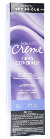 L'Oreal Excellence Creme Gray Coverage Permanent Hair Color 9 1/2 .1 Extra Light Light Ash Blonde