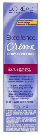L'Oreal Excellence Creme Gray Coverage Permanent Hair Color 9 1/2 .13 Extra Light Light Beige Blonde