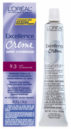 L'Oreal Excellence Creme Gray Coverage Permanent Hair Color 9.3 Light Golden Blonde