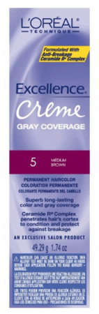 L'Oreal Excellence Creme Gray Coverage Permanent Hair Color 5 Medium Brown
