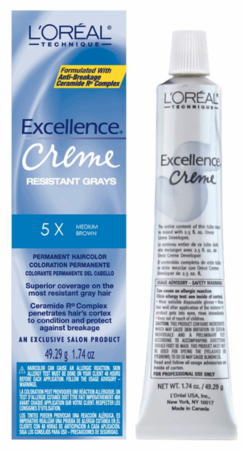 L'Oreal Excellence Creme Resistant Gray Permanent Hair Color 5X Medium Brown