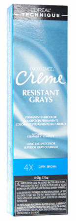 L'Oreal Excellence Creme Resistant Gray Permanent Hair Color 4X Dark Brown