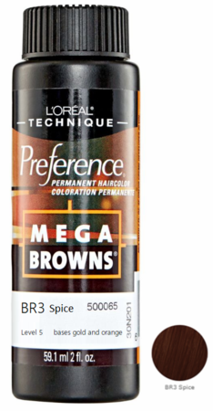 L'Oreal Professional Preference Mega Browns Permanent Hair Color BR3 Spice