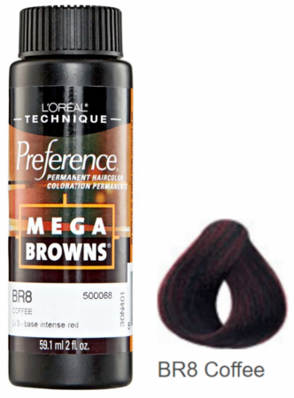 L'Oreal Professional Preference Mega Browns Permanent Hair Color BR8 Coffee DISC
