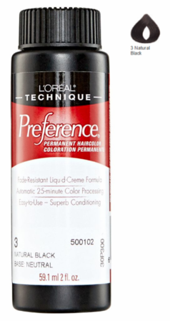 L'Oreal Professional Preference Permanent Hair Color 3 Natural Black DISC