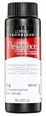 L'Oreal Professional Preference Permanent Hair Color 7.4 Burnished Copper