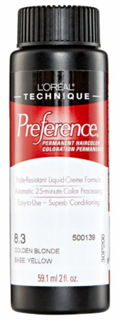 L'Oreal Professional Preference Permanent Hair Color 8.3 Golden Blonde DISC