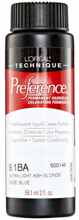 L'Oreal Professional Preference Permanent Hair Color 9.1BA Extra Light Ash Blonde