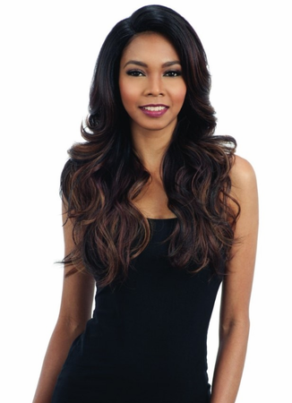Model Model Jestic Deep Invisible L-Part Wig Synthetic