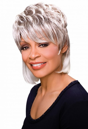 Foxy Silver Peggy Wig Synthetic