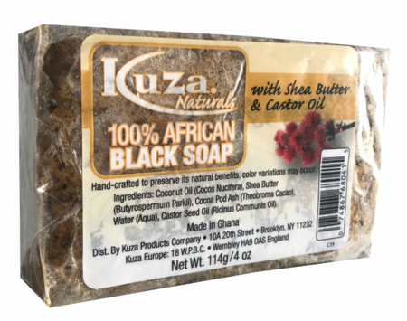 Kuza Naturals 100% African Black Soap with Shea Butter & Castor Oil 4 oz