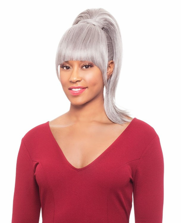 Foxy Silver Duet 1 Bang and Ponytail Synthetic