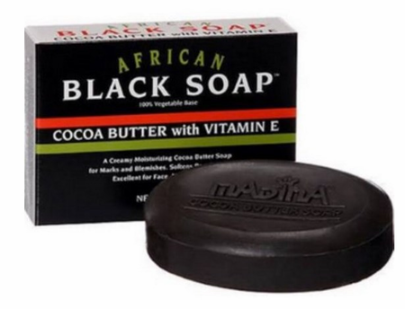 Madina African Black Soap Cocoa Butter With Vitamin E 3.5 oz