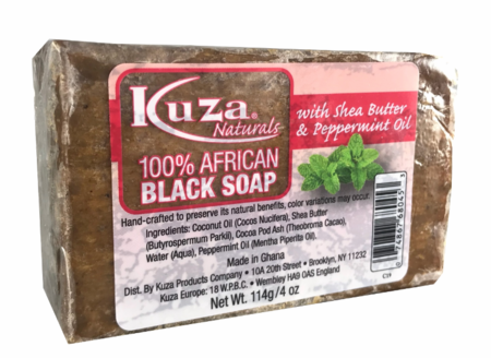 Kuza Naturals 100% African Black Soap with Shea Butter & Peppermint Oil 4 oz