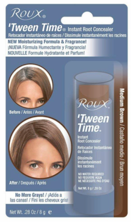 Roux Tween Time Medium Brown Temporary Haircolor Touch Up Color Stick .33oz
