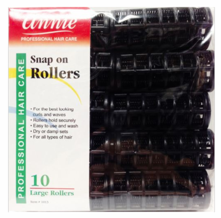 Annie Snap On Rollers Large Black 7/8