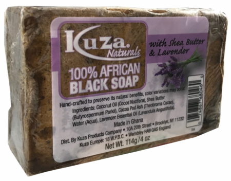 Kuza Naturals 100% African Black Soap With Shea Butter & Lavender 4oz