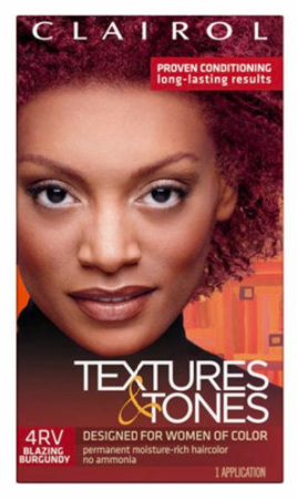 Clairol Textures & Tones Permanent Creme Hair Color 4RV Blazing Burgundy