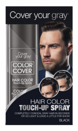 Cover Your Gray For Men Color Cover Hair Color Touch-Up Spray Black 2 oz