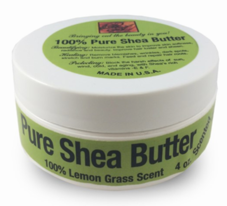 RA Cosmetics Pure Shea Butter With Lemon Grass Scent 4 oz