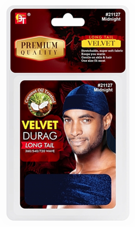 Beauty Town Velvet Durag Long Tail Midnight 21127