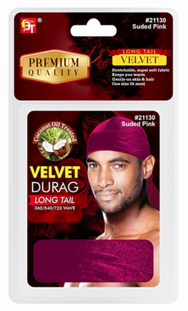 Beauty Town Velvet Durag Long Tail Suede Pink 21130