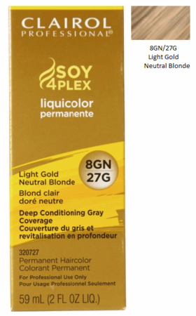 Clairol Professional Soy4Plex Permanent Haircolor 8GN/27G Light Gold Neutral Blonde
