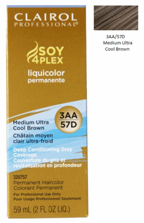 Clairol Professional Soy4Plex Permanent Haircolor 3AA/57D Medium Ultra Cool Brown