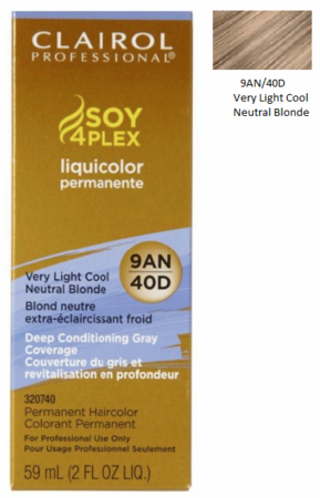 Clairol Professional Soy4Plex Permanent Haircolor 9AN/40D Very Light Cool Neutral Blonde