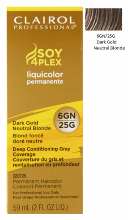 Clairol Professional Soy4Plex Permanent Haircolor 6GN/25G Dark Gold Neutral Blonde
