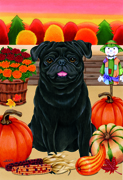 "Pug Black -  Tomoyo Pitcher Large Flag 28""x40"""