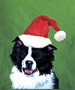 Border Collie  - Van Vliet Christmas Large Flag