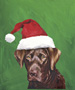 Chocolate Labrador  - Van Vliet Christmas Large Flag