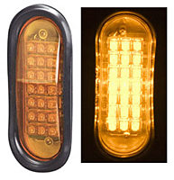 Flush Mount Oval LED Warning Light, Amber