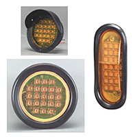 Flush Mount Round LED Warning Light w/ Visor, Red