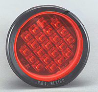 Flush Mount Round LED Warning Light, Red