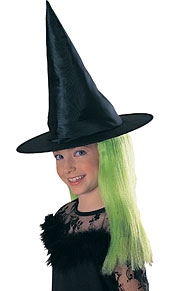 Rubies - Witch Hat With Attached Green Hair
